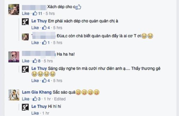 Trước khi viết status này, Lê Thúy đã gửi tin nhắn trực tiếp cho Hương Ly.