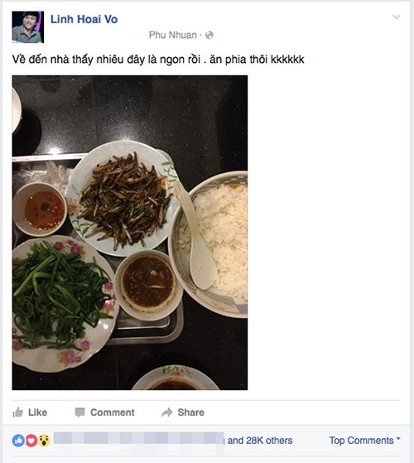 Nghệ sĩ Hoài Linh chia sẻ bữa ăn bình dân sau khi đi làm về chỉ với cá khô, rau luộc.