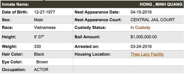 Thông tin về nghệ sĩ Minh Béo trên hệ thống nhà tù California.