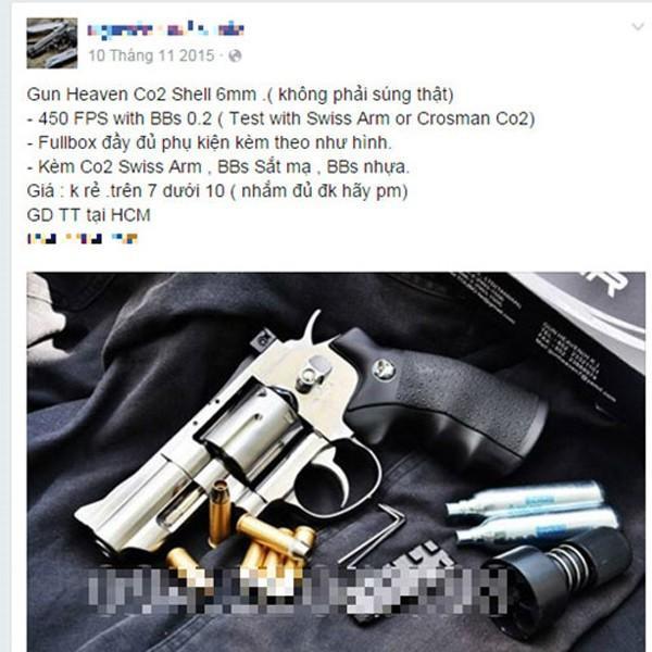 Rao bán súng tràn lan trên mạng