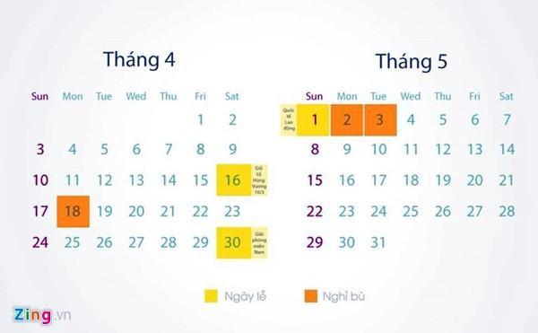 Lịch nghỉ lễ và nghỉ bù trong dịp giỗ tổ Hùng Vương và 30/4, 1/5.