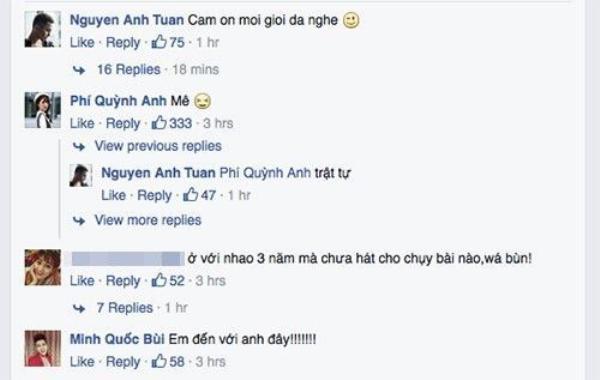 Sau khi nghe bạn trai hát, Quỳnh Anh Shyn không quên bình luận cảm xúc hạnh phúc của mình.