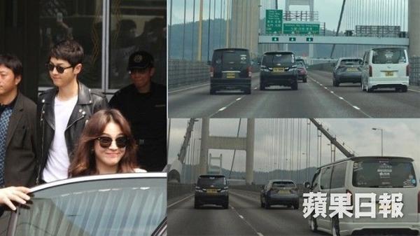 Đám đông còn đuổi xe của Song Joong Ki và Song Hye Kyo.