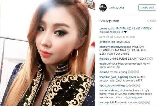 Sau MAMA 2015, Bom là người được nhắc đến nhiều nhất. Không một ai có thể nghĩ được dòng hashtag #missioncomplete của Minzy lại là một dấu hiệu buồn.