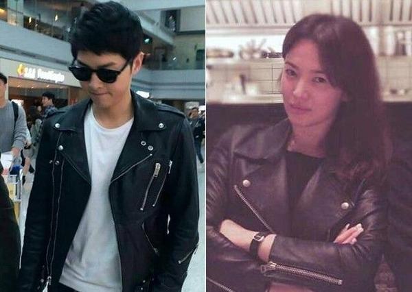 """Trên đường sang Hồng Kông vào 4/4 vừa qua, Song Joong Ki đã diện một chiếc jacket da rất cool ngầu. Không biết do """"vô tình hay hữu ý"""" mà một ngày sau đó, Song Hye Kyo đã đăng tải bức ảnh mình diện chiếc jacket tương tự lên Instagram."""