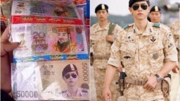 Song Joong Ki bị in hình trên tiền âm phủ.