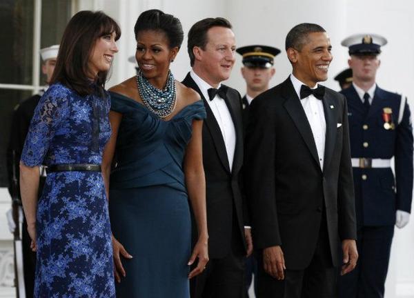 Quốc yến chiêu đãi Thủ tướng anh David Cameroon và phu nhân Samantha Cameroon được tổ chức tại khu vườn phía sau Nhà Trắng vào ngày 14/3/2012. Phần lớn khách mời trong buổi quốc yến này là những nhân vật có tiếng tăm trong làng giải trí quốc tế.