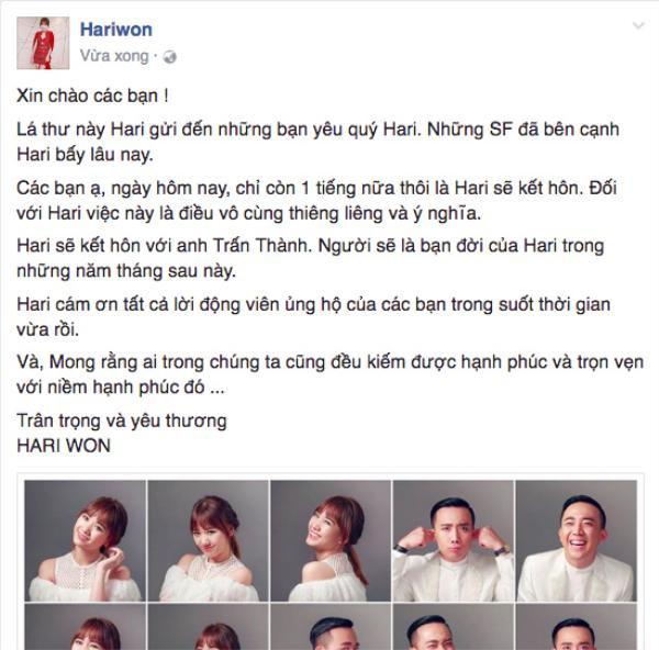Còn nữ ca sĩ cũng thông báo mình chính thức kết hôn với Trấn Thành.
