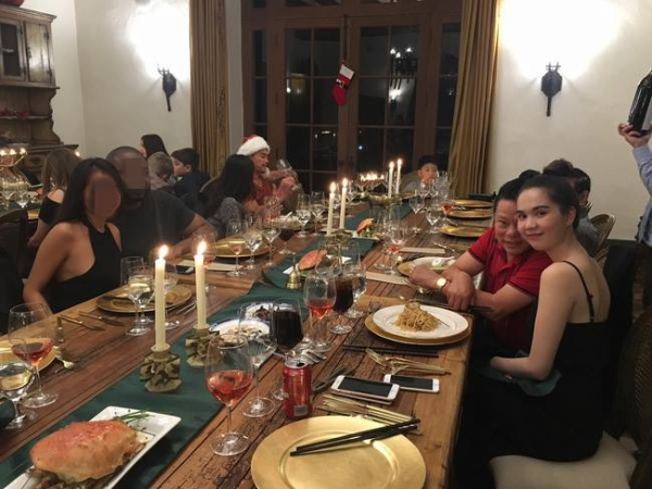 Ngọc Trinh trong buổi tiệc gặp gỡ gia đình bạn trai tại Mỹ.