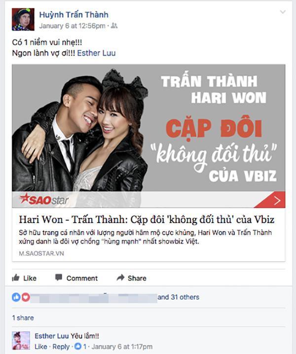 Trên trang Facebook cá nhân, anh hạnh phúc gọi Hari Won là vợ…