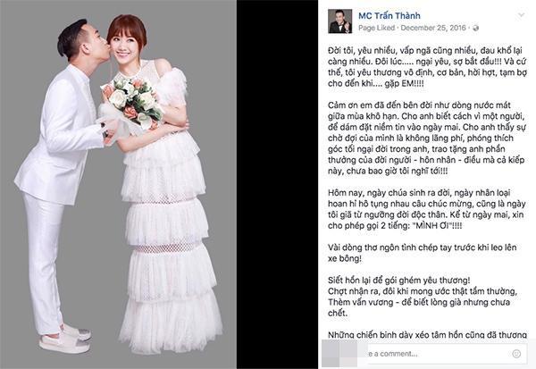 Trấn Thành viết tâm thư rất dài gửi đến bà xã Hari Won trước ngày cưới khiến ai ai cũng phải xúc động.