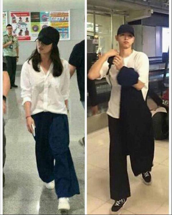 """""""Thời trang sân bay"""" của Song Joong Ki và Song Hye Kyo có nhiều điểm giống nhau, nhất là chiếc mũ lưỡi trai."""