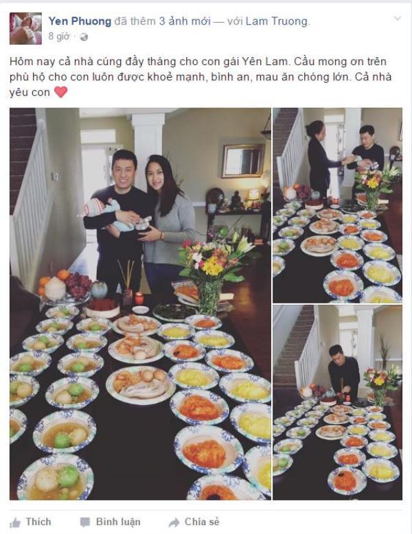 Yến Phương chia sẻ hình ảnh tiệc đầy tháng của con gái trên trang cá nhân.