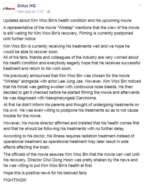 Diễn biến sức khỏe của Kim Woo Bin: không phẫu thuật vì sợ tổn thương não