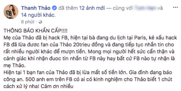 Mẹ ca sĩ Thanh Thảo bị hacker xâm nhập Facebook, lừa fan hàng chục triệu đồng
