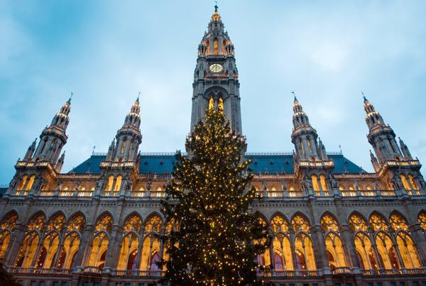 Vienna, Áo: Đến Vienna mùa Giáng sinh, du khách được khám phá hàng chục khu chợ Giáng sinh khắp phố. Tuy nhiên, điểm nổi bật và ấn tượng nhất của thành phố mùa lễ hội cuối năm và thu hút không ít du khách, là cây thông khổng lồ, lấp lánh trước tòa thị chính thành phố. Ảnh: Ventura.