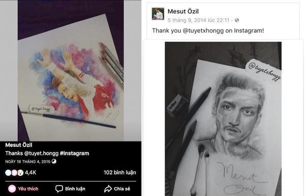 Tiền vệ Ozil không ít lần đăng tranh fan nữ này vẽ lên mạng xã hội và cám ơn