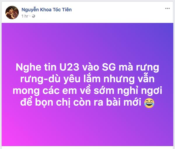 Tóc Tiên: 'Dù yêu nhưng mong các em U23 sớm nghỉ ngơi để chị ra bài mới' Tóc Tiên: 'Dù yêu nhưng mong các em U23 sớm nghỉ ngơi để chị ra bài mới'
