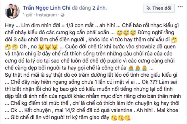 Hau 'to' vo cu Lam Vinh Hai, Linh Chi khoe hinh ben 'tri ky' Lam Vinh Hai nhan 14/2
