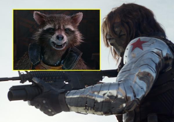 Rocket dường như 'nghiện' cánh tay người máy của Bucky Barnes.